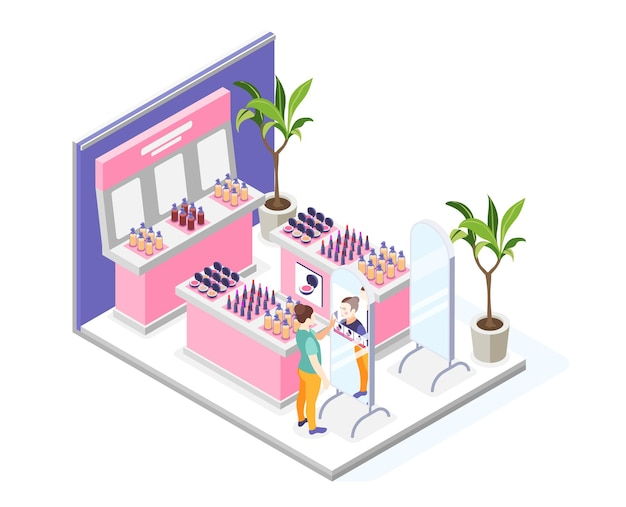 Composição de maquiagem virtual com vista de loja de produtos cosméticos e ilustração de interface de usuário de mulher olhando no espelho