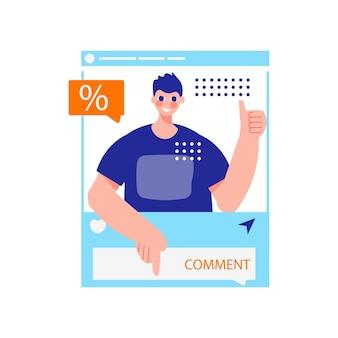 Composição de marketing influenciador com personagem de cara no smartphone