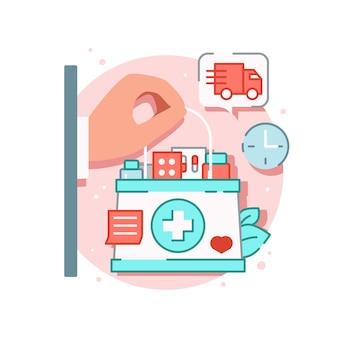 Composição de medicamento online com a mão segurando uma caixa de primeiros socorros cheia de medicamentos com placa de entrega