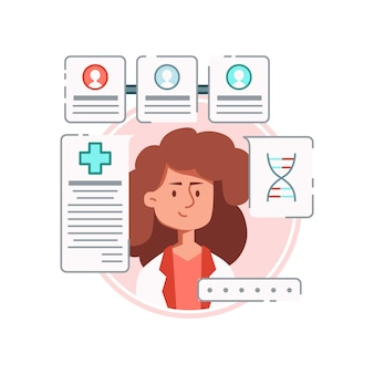 Composição de medicamento online com personagem feminina de médico cercada de pedidos de medicamentos