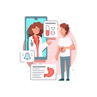 Composição de medicamentos online com imagem de paciente com estômago e médico em smartphone