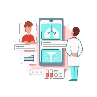 Composição de medicamentos online com personagens de médico e corpo de triagem de pacientes com smartphone