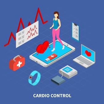 Composição de medicina móvel com ilustração isométrica de símbolos de controle cardio