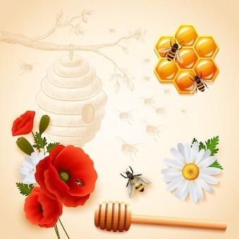Composição de mel colorido