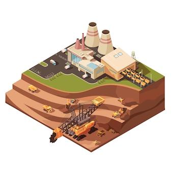 Composição de mineração com imagens de edifícios de fábrica
