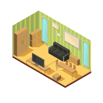 Composição de mobília isométrica da sala de estar