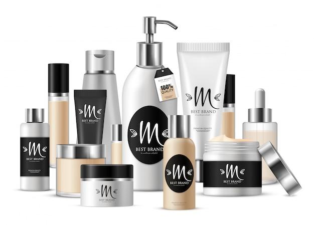 Composição de modelo cosmético colorido para apresentação de negócios e com rótulo com marca