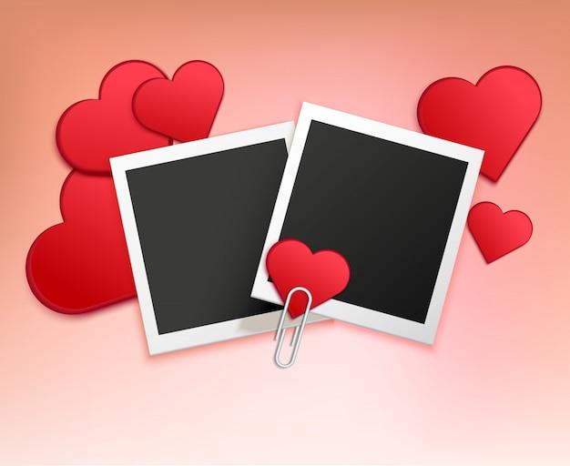 Composição de moldura de foto de amor
