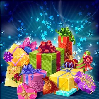 Composição de natal com caixas de presentes de desenhos animados