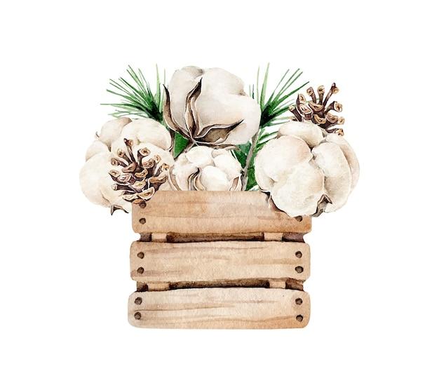 Composição de natal com pinha de algodão em caixa de madeira