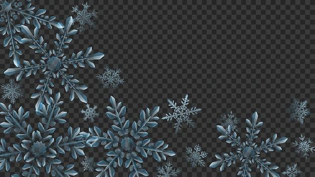 Composição de natal de flocos de neve transparentes em cores azuis claras para uso em fundo escuro