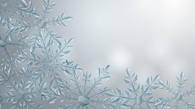 Composição de natal de grandes flocos de neve transparentes complexos em cores azuis claras em fundo gradiente. transparência apenas em formato vetorial