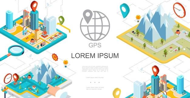 Composição de navegação gps móvel isométrica com cidade, montanhas, mapa, ponteiros, lupa, estradas, ilustração