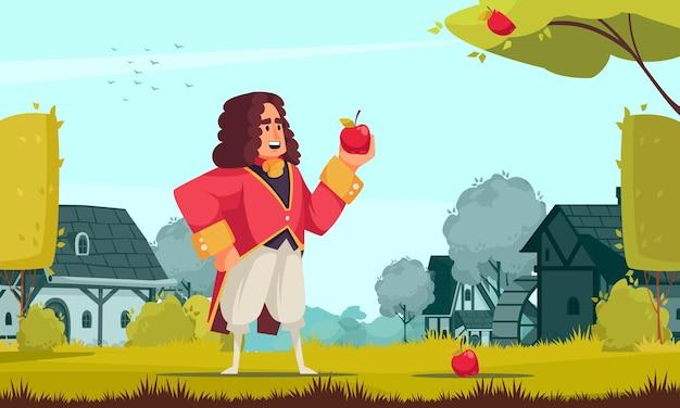 Composição de newton cientista famoso com cenário ao ar livre e personagem de doodle em traje vintage segurando uma maçã