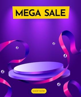 Composição de oferta especial de pódio de venda com desconto colorido