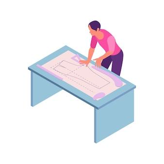 Composição de oficina de costura isométrica com caráter humano de estilista fazendo ilustração de padrão de vestido