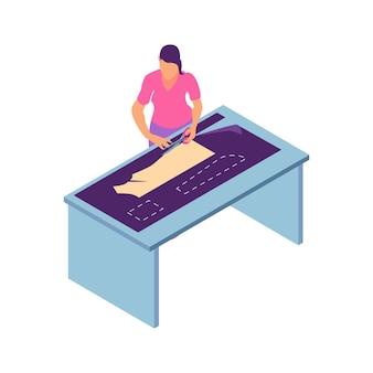 Composição de oficina de costura isométrica com personagem feminina de corte sob medida padrão de vestido com ilustração de tesoura