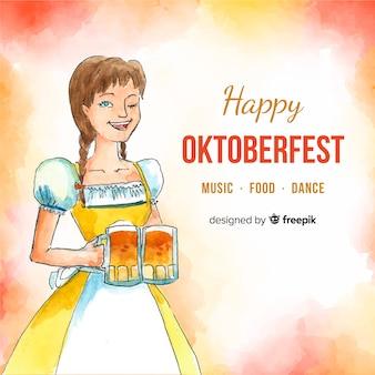 Composição de oktoberfest aquarela colorida