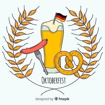 Composição de oktoberfest desenhada mão clássico