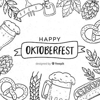 Composição de oktoberfest linda mão desenhada