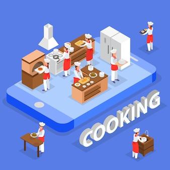 Composição de ordem de comida isométrica com funcionários do restaurante italiano cozinhando na ilustração em vetor 3d cozinha