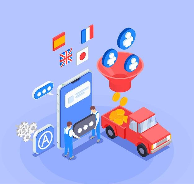 Composição de otimização de loja de aplicativos isométrica com personagens 3d, dinheiro, carro, bandeiras e smartphone