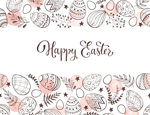 Composição de ovos de páscoa mão desenhada fundo com folhas e pontos em aquarela.