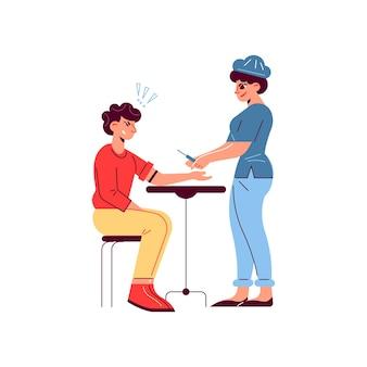 Composição de paciente de médico de medicina de hospital com médica com seringa e cara assustado