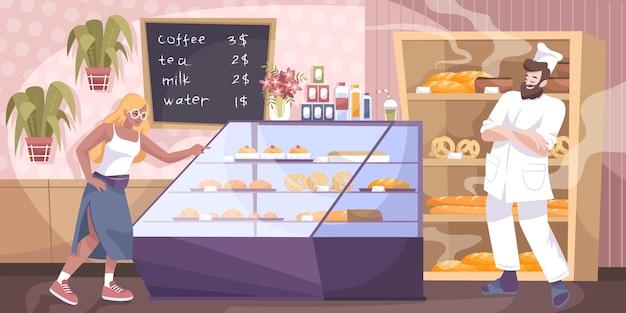 Composição de padaria com personagens humanos planos e cenário interno de padaria com ilustração de alimentos assados