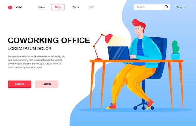 Composição de página de aterrissagem plana de escritório de coworking.