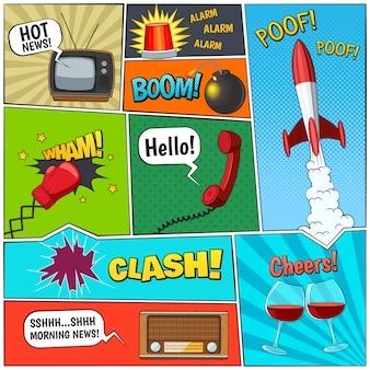 Composição de painéis de página de quadrinhos com foguete e dois copos de videira com ilustração em vetor abstrato balões de fala