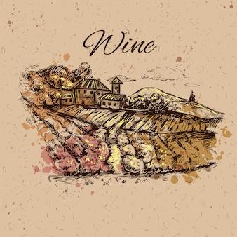 Composição de paisagem de vinhedo