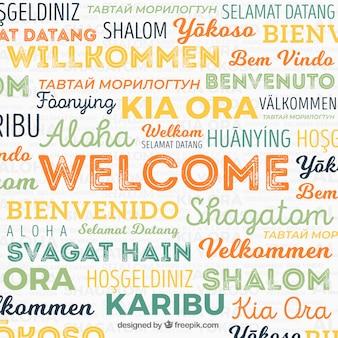 Composição de palavras de boas-vindas em diferentes idiomas