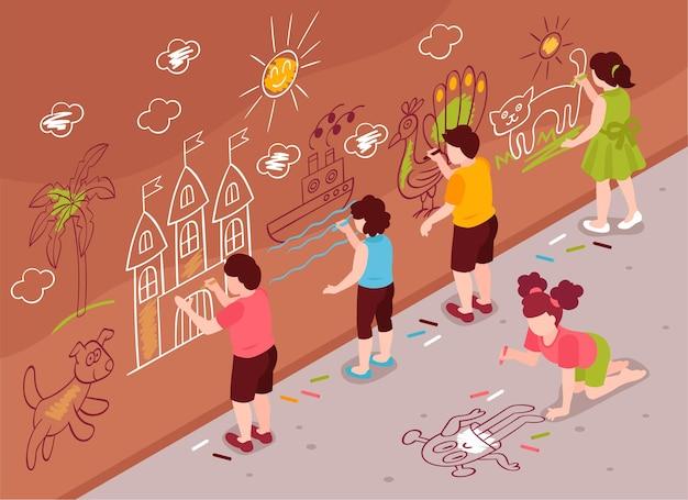 Composição de parede de escola de arte de crianças isométricas com grupo de crianças desenhando na parede da rua e asfalto