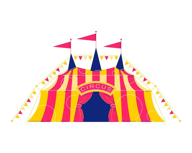 Composição de parque de diversões de circo com imagem isolada da tenda clássica de circo