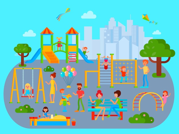 Composição de parque infantil com paisagem urbana da cidade plana