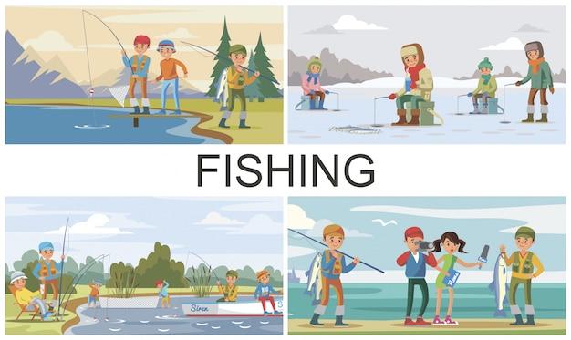 Composição de passatempo de pesca plana com pesca de verão e inverno e repórter entrevista pescador que pescou peixe grande