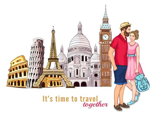 Composição de personagens de tour de viagem pela europa