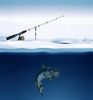 Composição de pesca de inverno com imagem realista de peixes sob o gelo com equipamento de pesca fixado na ilustração de superfície