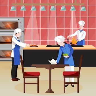 Composição de pessoas cozinhando plana