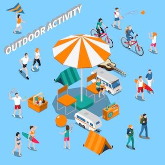Composição de pessoas de atividade ao ar livre do verão