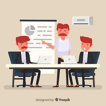 Composição de pessoas de escritório moderno com design plano