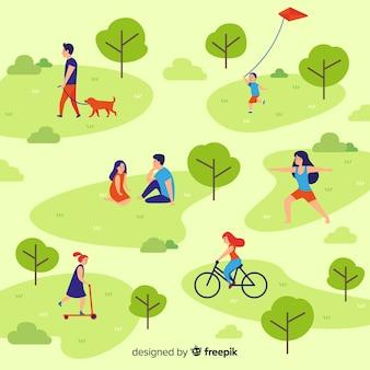 Composição de pessoas fazendo atividades ao ar livre