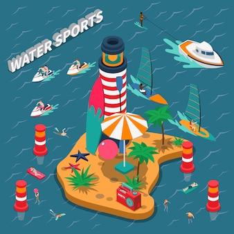 Composição de pessoas isométrica de esportes aquáticos
