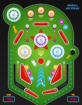 Composição de pinball colorida e realista com descrição de batida de pinball