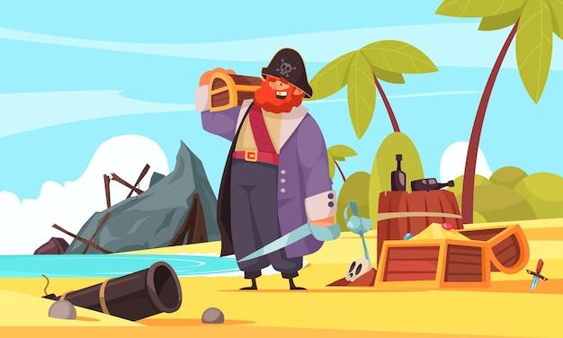 Composição de pirata com personagem humano de desenho animado de paisagem de ilha com garrafas de rum de baú de tesouro e destroços de navios