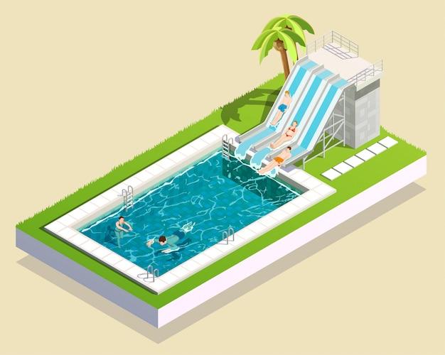 Composição de piscina de parque aquático