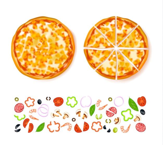 Composição de pizza vazia em fatias