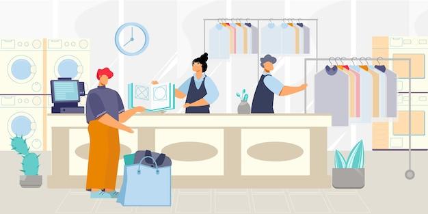 Composição de planos de lavagem a seco com cenário interno de lavanderia e balcão com funcionários se comunicando com os clientes