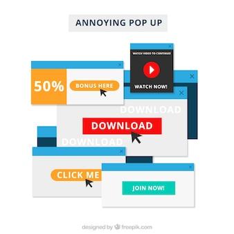 Composição de pop-ups irritante com design plano